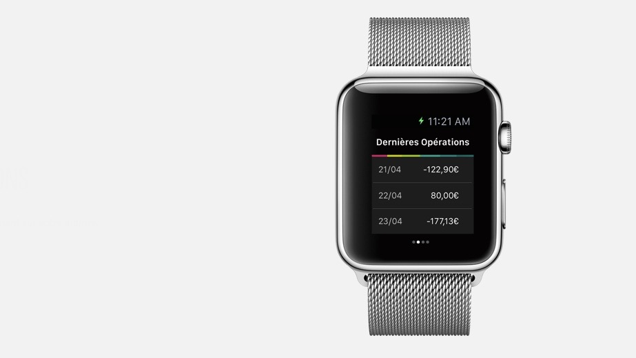 Aplikacja banku BNP Paribas na Apple Watch. Źródło: BNP Paribas